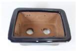 Bonsai Pot, Rectangle, 12cm, Black, Glazed